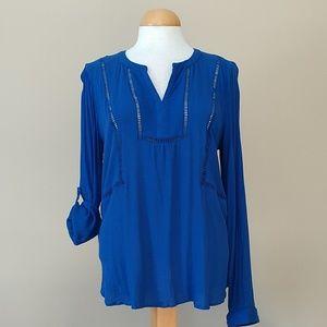 [daniel rainn] Lattice Detail Royal Blue Blouse
